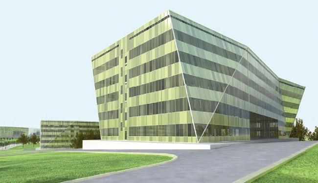 На данный момент здания научно-производственной зоны (основные корпуса ОЭЗ) решены в зеленоватых оттенках и несложных ломаных формах. Их объемы «свачены» лентами окон, но «играют» наклонами плоскостей и углов, как будто бы немного пошевеливаются. Таким образом корпуса одновременно стремятся слиться с природой – и демонстрируют геометризм очертаний