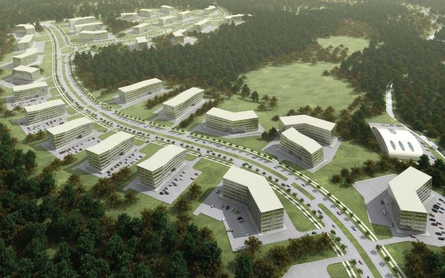 Научно-производственная зона. Разработано несколько вариантов типовых зданий для участков разного размера и для рзличных задач. Офисные корпуса для работы в сфере IT соседствуют с научно производственными, где изыскания будут соседствовать экпериментальным производством