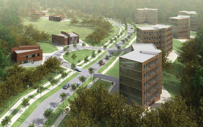 Жилая зона решена более традиционно - в коричневом кирпичном цвете. Она совмещает пятиэтажные дома и модернистские коттеджи