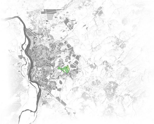 Расположение территории проектируемого участка в городе