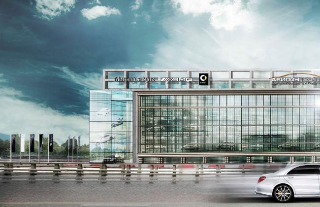 Дилерский центр для Mercedes-Benz и Audi на территории ЗИЛа. Проект, 2016 © Kleinewelt Architekten