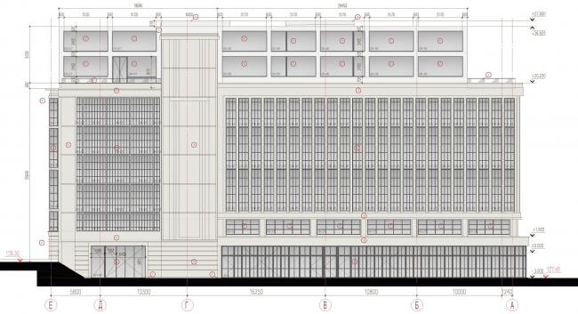Дилерский центр для Mercedes-Benz и Audi на территории ЗИЛа. Фасад. Проект, 2016 © Kleinewelt Architekten