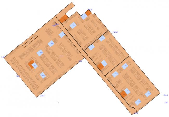 План нижнего яруса подземной парковки. Многофункциональный жилой комплекс на территории завода «Филикровля». Проект, 2015 © SPEECH