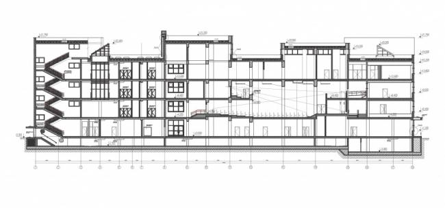 Школа в районе Некрасовка. Разрез 1-1 © ППФ «Проект-Реализация». Предоставлено пресс-службой «Москомархитектуры»
