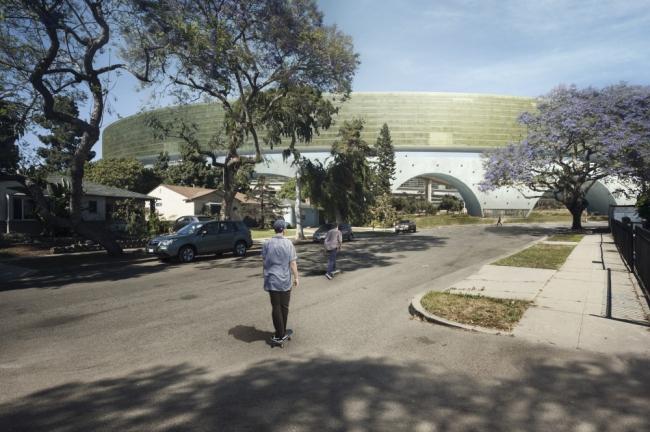 Жилой комплекс на развязке шоссе I-710/I-105 в Лос-Анджелесе. Автор:  Александр Гебетсройтер (Alexander Gebetsroither).  Технический университет в Граце (Австрия)