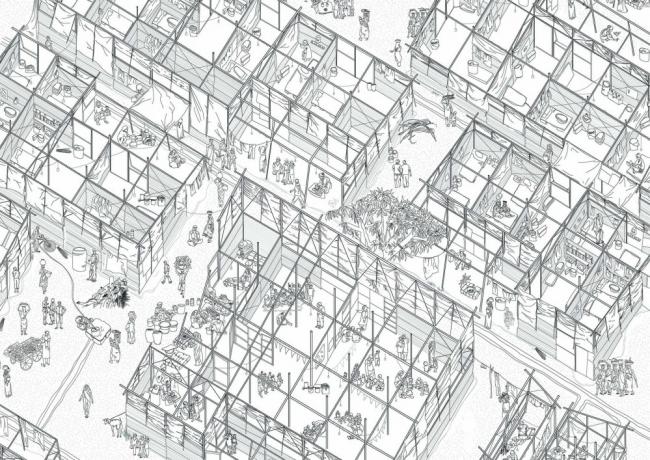 Жилье для строителей в Ахмедабаде. Автор:  Ханна Бротч (Hannah Broatch).  Технический университет в Окленде (Новая Зеландия)