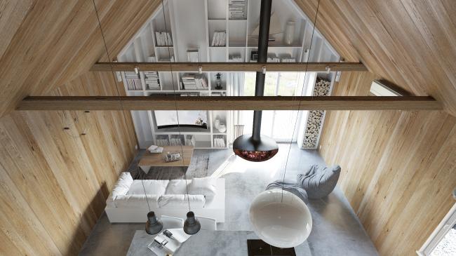 Русский стиль. Интерьер: вид из интерьерного окна спальной комнаты © Ilya Samsonov Architecture & Design