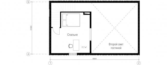Русский стиль. Студия. План 2 этажа © Ilya Samsonov Architecture & Design