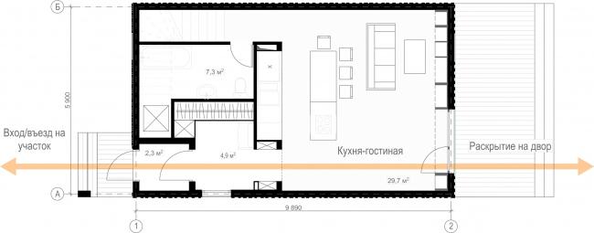 Русский стиль. Студия. План 1 этажа © Ilya Samsonov Architecture & Design