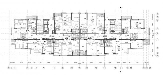 Жилой дом на Ивановской ул., 16. План типового этажа © Архитектурное бюро Асадова