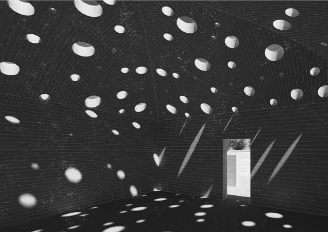 Проект студентки магистратуры (1 курс) Александры Полидовец «Лабиринт». Руководители: Тотан Кузембаев, Наталья Кузьмина, Сергей Шошин. Лесное небо © МАРШ, 2017