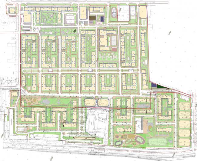 Жилой квартал «Комфорт-таун». Генеральный план © Архиматика