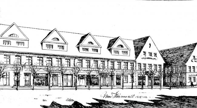 Проект новой застройки Торга в Алленбурге (ныне Дружба) архитектора Макса Шёнвальда. Из журнала Deutsche Bauhütte, номер 35-36 от 1916 года