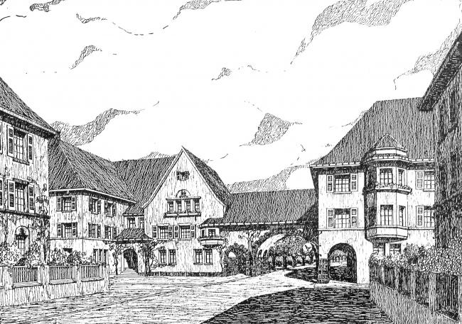 Фантазии на тему восстановления малого восточнопрусского города архитектора Гейнца Шпицнера. Из журнала Deutsche Bauhütte, специальный номер от 1916 года
