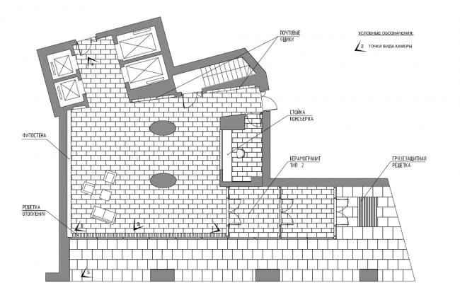 Жилой комплекс «Нагорная». План пола вестибюля © Архитектурная мастерская «Сергей Киселев и Партнеры»