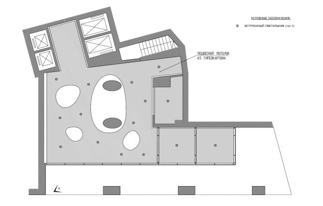 Жилой комплекс «Нагорная». Общественные зоны. План потолка вестибюля © Архитектурная мастерская «Сергей Киселев и Партнеры»