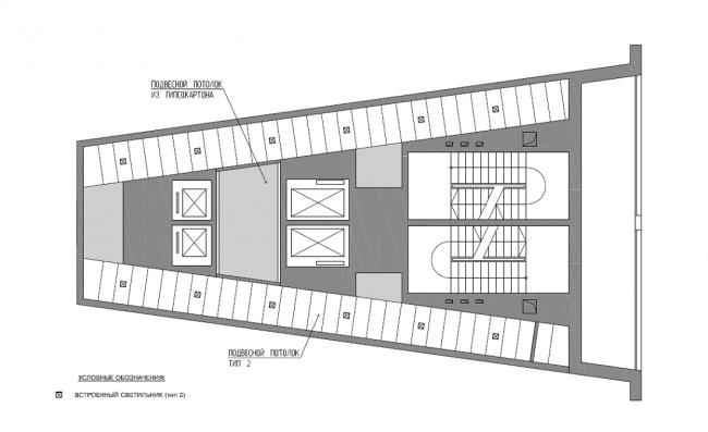 Жилой комплекс «Нагорная». Общественные зоны. План потолка типового этажа © Архитектурная мастерская «Сергей Киселев и Партнеры»