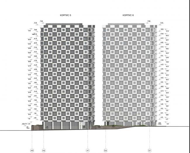 Жилой комплекс «Нагорная». Корпуса 5 и 6 с подземной автостоянкой. Схема западного фасада © Архитектурная мастерская «Сергей Киселев и Партнеры»