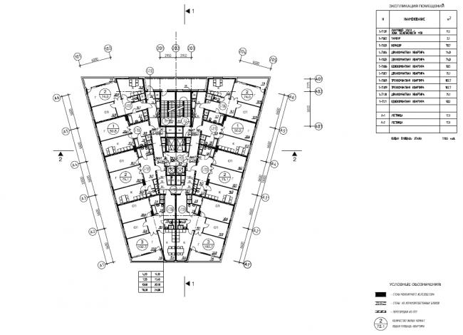 Жилой комплекс «Нагорная». Корпус 5. Схема планов 2-9 этажей © Архитектурная мастерская «Сергей Киселев и Партнеры»