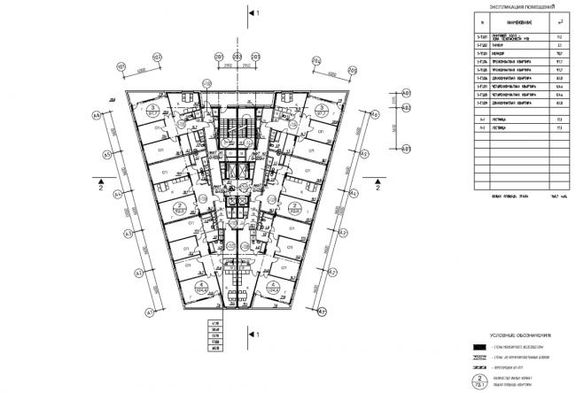 Жилой комплекс «Нагорная». Корпус 5. Схема планов 15-19 этажей © Архитектурная мастерская «Сергей Киселев и Партнеры»