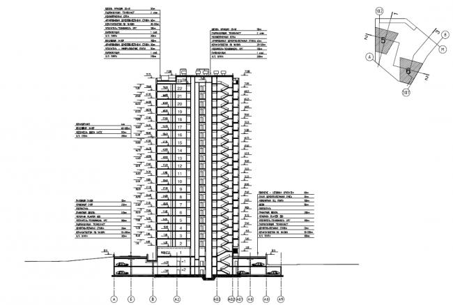 Жилой комплекс «Нагорная». Корпус 5. Схема разреза 1-1 © Архитектурная мастерская «Сергей Киселев и Партнеры»