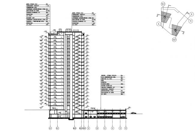 Жилой комплекс «Нагорная». Корпус 6. Схема разреза 3-3 © Архитектурная мастерская «Сергей Киселев и Партнеры»