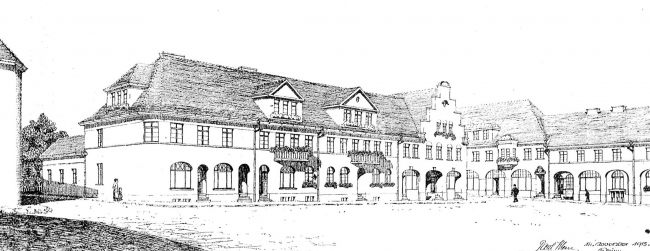 Проект новой застройки Домнау (ныне Домново) архитектора Пауля Клейна. Из журнала Deutsche Bauhütte, номер 19-20 от 1916 года