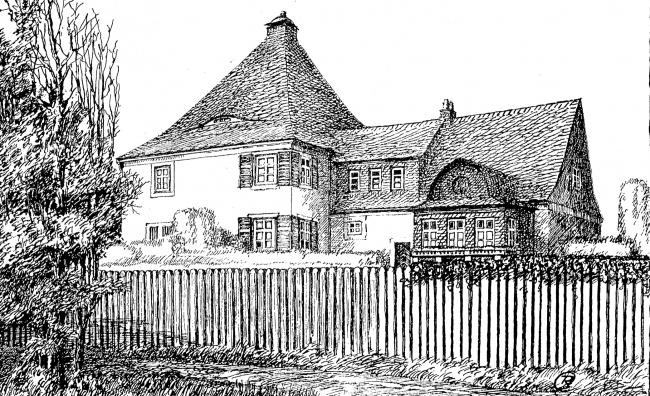 Проект сельского жилого дома с лавкой, вероятно в окрестностях Зольдау (ныне Дзялдово), архитектора Рихарда Клаасена. Из журнала Deutsche Bauhütte, номер 23-24 от 1918 года