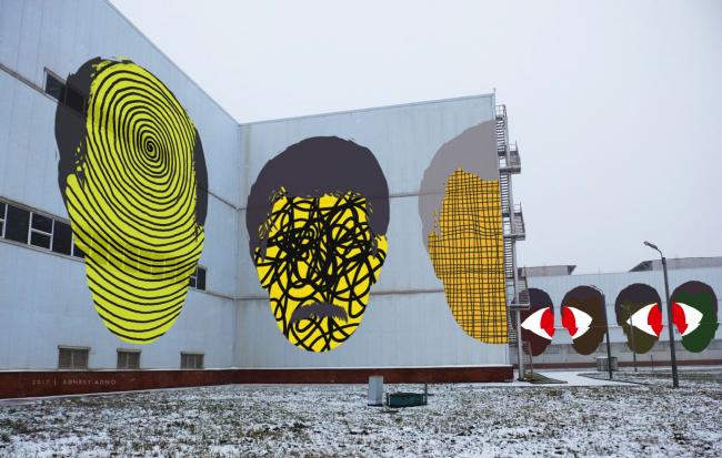 Эскиз росписи фасада здания Выксунского металлургического завода. Автор: Андрей Адно, Россия