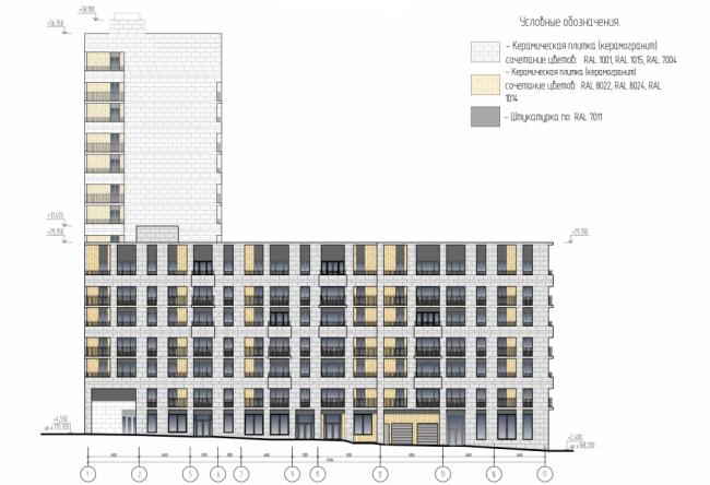 Жилой комплекс с пристроенным детским садом. Схема фасадов в осях 1-17 © ООО «Генпроект». Предоставлено пресс-службой «Москомархитектуры»