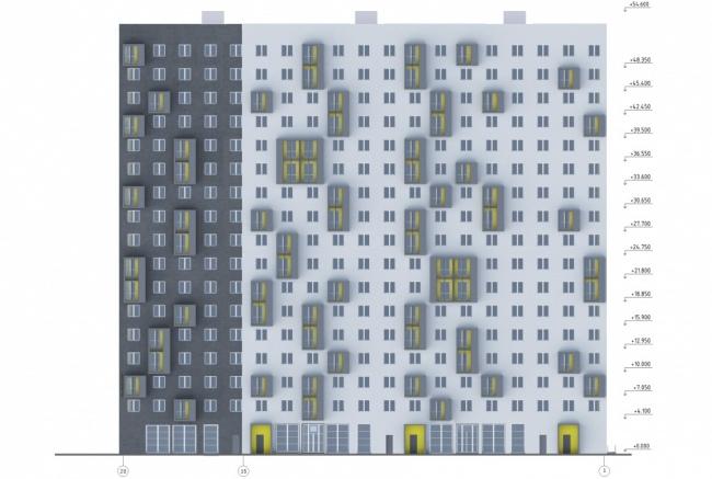 Жилой дом в Очаково. Схема фасада © Моспроект-4