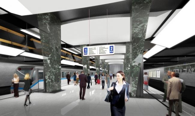 Станция метро «Петровский парк» © ОАО «Метрогипротранс».   Предоставлено пресс-службой «Москомархитектуры»