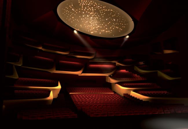 Здание театра в Сучжоу, Китай. 2013-2017. Зрительный зал. Визуализация © Кристиан де Портзампарк