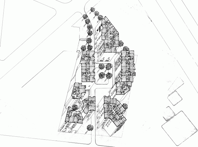 Жилой комплекс на улице Бодрикур, Париж. 1975-1979. Аксонометрия © Кристиан де Портзампарк.