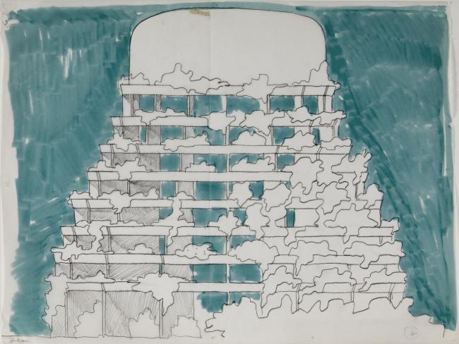 Водонапорная башня. Кристиан де Портзампарк. Эскиз. 1971-1974