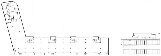 Жилой комплекс и офис на Пречистенской набережной. Общие планы, -1 этаж. Проект, 2005 © Остоженка
