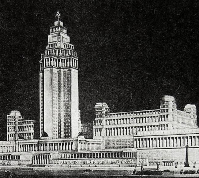 19. Проект здания Наркомтяжпрома в Зарядье, арх. Д.Ф.Фридман, 1936