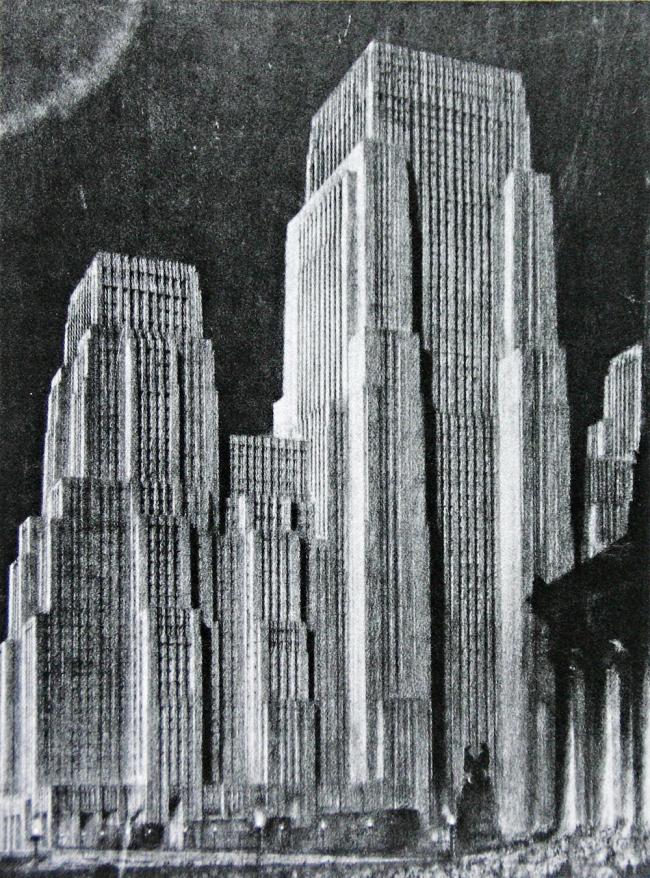 16. Окончательный вид небоскреба с учетом закона о зонировании, арх. Х.Феррис, 1925