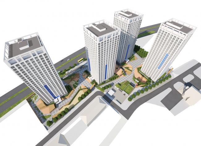 Общий вид комплекса © Архитектурное бюро «ОСА»