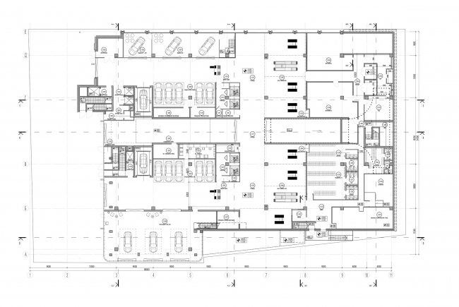 Dealership center of Mercedes-Benz and Audi on the territory of ZIL Plant. Plan of the 1st floor. Project, 2016 © Kleinewelt Architekten