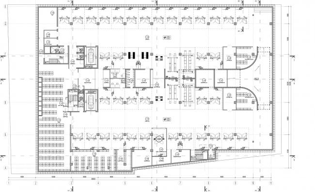Дилерский центр для Mercedes-Benz и Audi на территории ЗИЛа. Схема плана -1 этажа. Проект, 2016 © Kleinewelt Architekten
