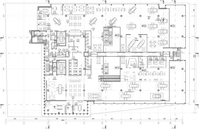 Дилерский центр для Mercedes-Benz и Audi на территории ЗИЛа. Схема плана 3 этажа. Проект, 2016