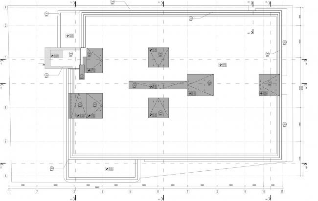Дилерский центр для Mercedes-Benz и Audi на территории ЗИЛа. Схема плана кровли. Проект, 2016