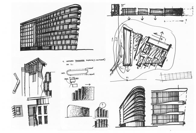 Жилой комплекс «Полуостров Зил». Эскиз © Сергей Скуратов ARCHITECTS