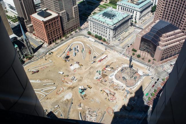 Площадь Паблик-Сквер–реконструкция. В процессе строительства. Фото: Tim Evanson via flickr.com. Лицензия CC BY-SA 2.0