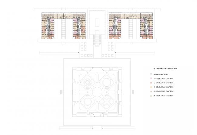 Жилой комплекс на ул. Типанова. План 17-21 этажа © Студия 44