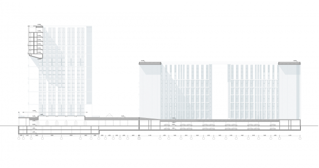 Жилой комплекс на ул. Типанова. Разрез 1-1 © Студия 44