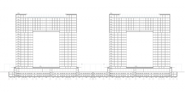 Жилой комплекс на ул. Типанова. Разрез 2-2 © Студия 44