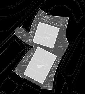 Центр искусств Хернинга.  Проект. План первого этажа