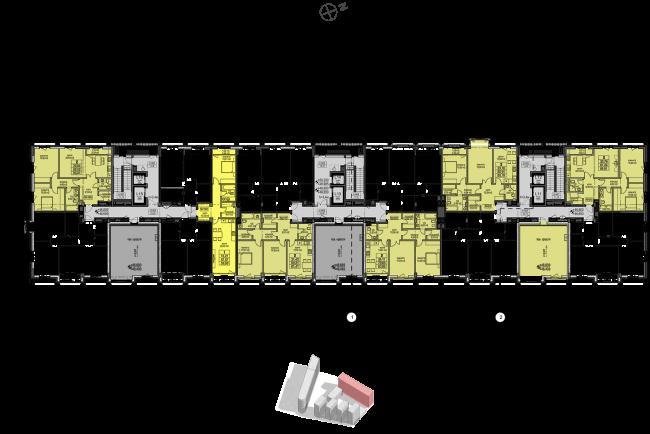 Жилой комплекс «Полуостров Зил». Корпус Е. План 14 этажа © Сергей Скуратов ARCHITECTS